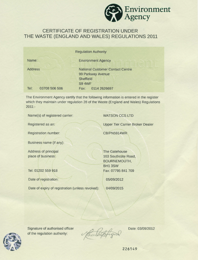 Waste Carriers License Watson Ccs Environmental